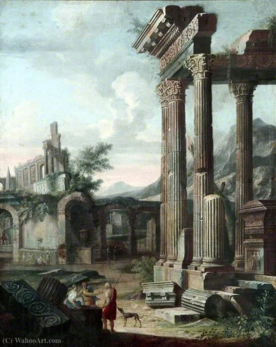 Classical Ruins with Figures in the Evening by Viviano Codazzi (1604-1670, Italy) | Art Reproduction | ArtsDot.com