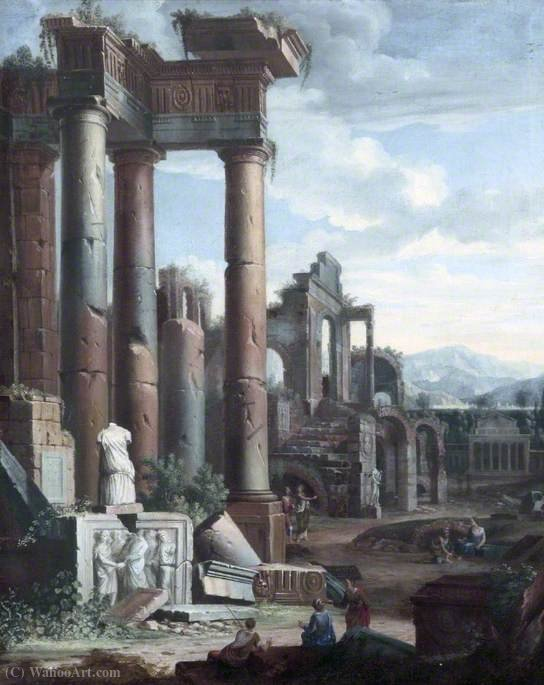 Classical Ruins with Figures in the Morning by Viviano Codazzi (1604-1670, Italy)