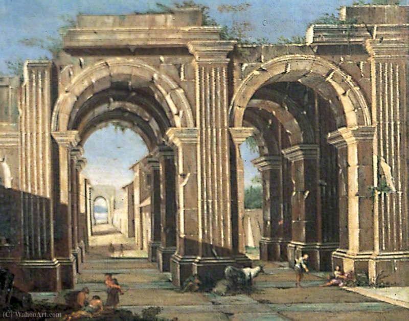 Classical Ruins with Peasants and Cattle by Viviano Codazzi (1604-1670, Italy)