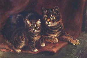 Wilson Hepple - A Tabby Cat with a Kitten