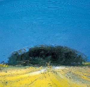 Colin Self - Large Harvest Field with Two Hay Bales at Happisburgh, Norfolk