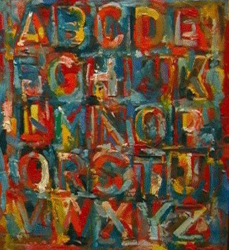 Colored alphabet by Jasper Johns