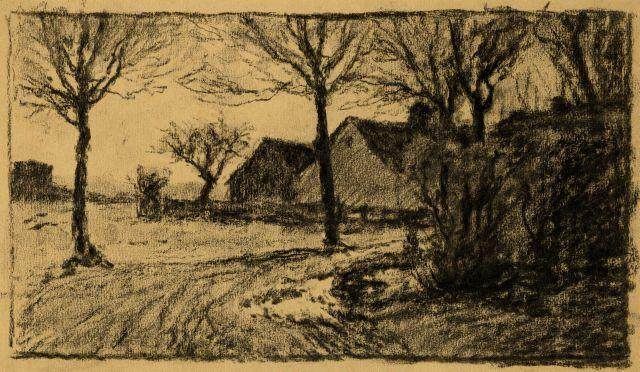 Untitled drawing of lane and buildings by Theodore Clement Steele (1847-1926, United States) | Museum Art Reproductions | ArtsDot.com