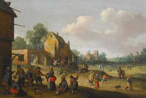 Joost Cornelisz Droochslo.. - Village scene with figure..