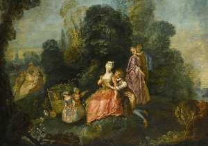 Pierre Antoine Quillard - Elegantly Dressed Group in a Garden Setting