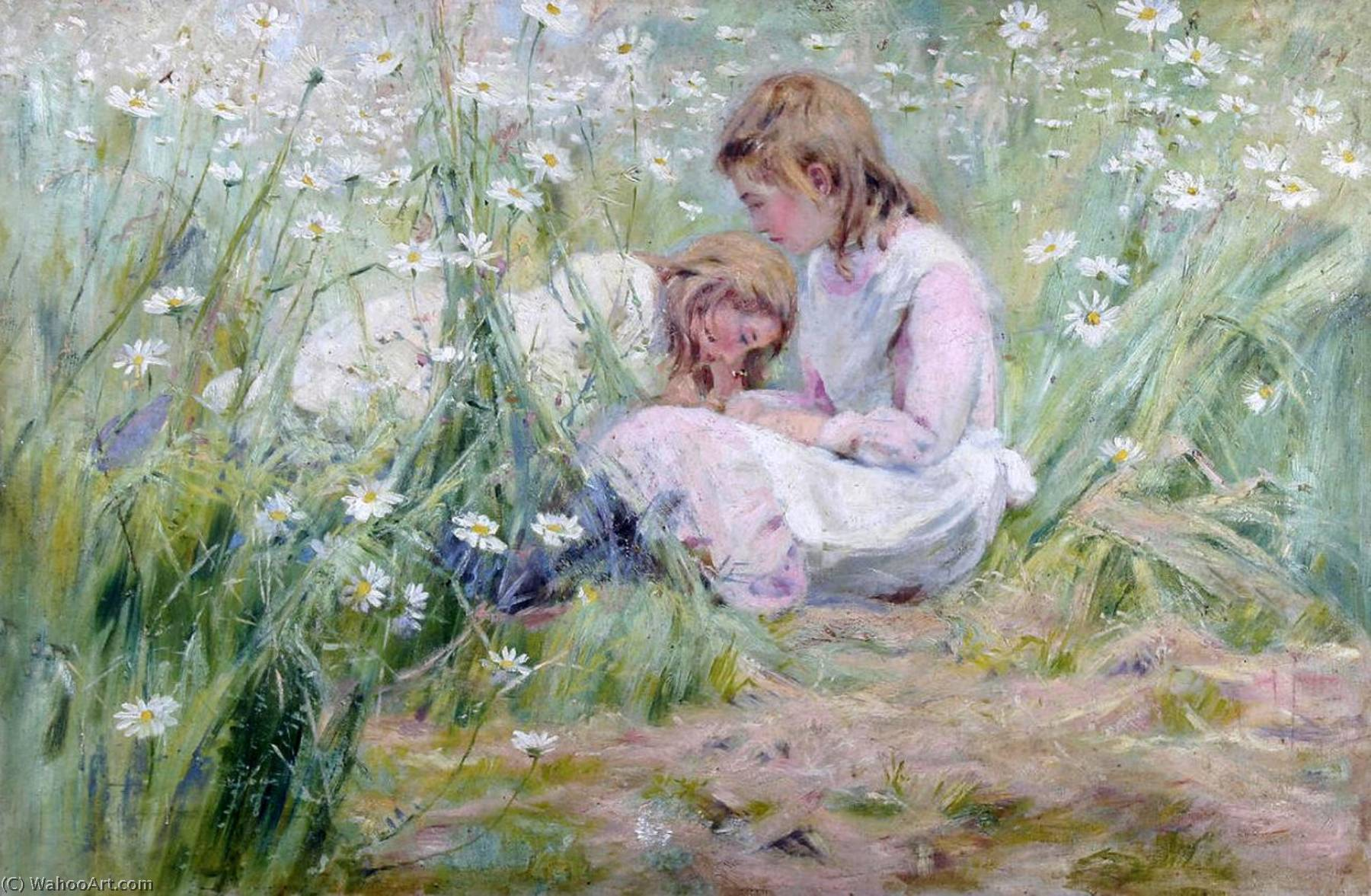 Girls in the Meadow by Alexander Mark Rossi (1841-1916, Greece) | Painting Copy | ArtsDot.com