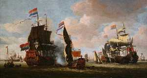 Abraham Storck (Sturckenburch) - The Dutch Fleet in the Harbour of Amsterdam