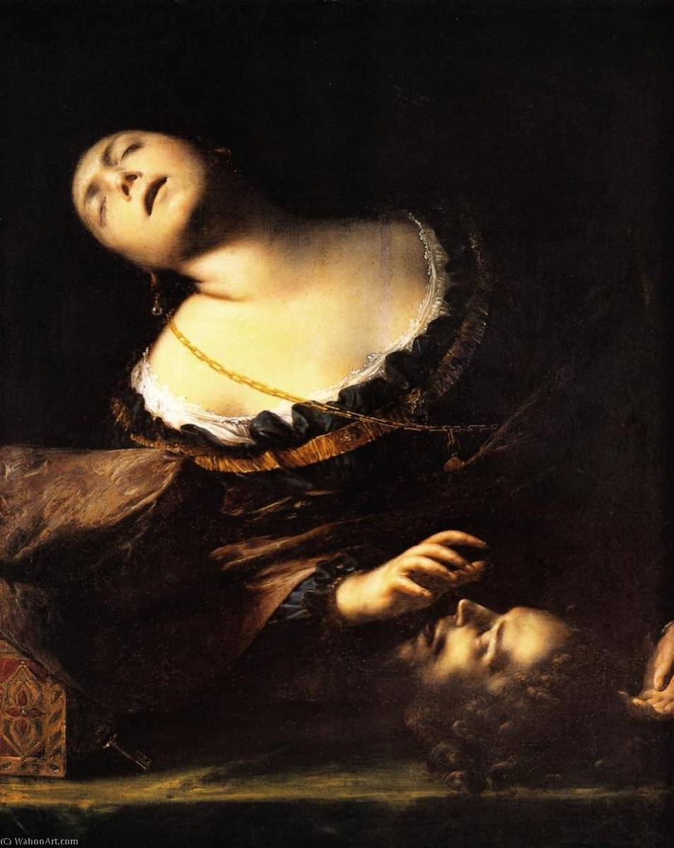 Order Museum Quality Reproductions : Herodias with the head of the Baptist,, 1635 by Francesco Del Cairo (1607-1665) | ArtsDot.com