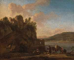Jan Asselijn - an italianate river landscape with herders on a path with their flock and donkeys, classical ruins on a hilltop beyond