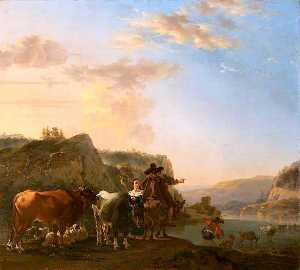 Jan Asselijn - A Landscape with Peasants (also known as Landscape with Herdsmen Fording a River)