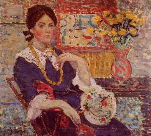 Maurice Brazil Prendergas.. - Le Rouge Portrait of Miss..