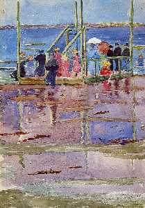 Maurice Brazil Prendergast - Float at Low Tide, Revere Beach (also known as People at the Beach)