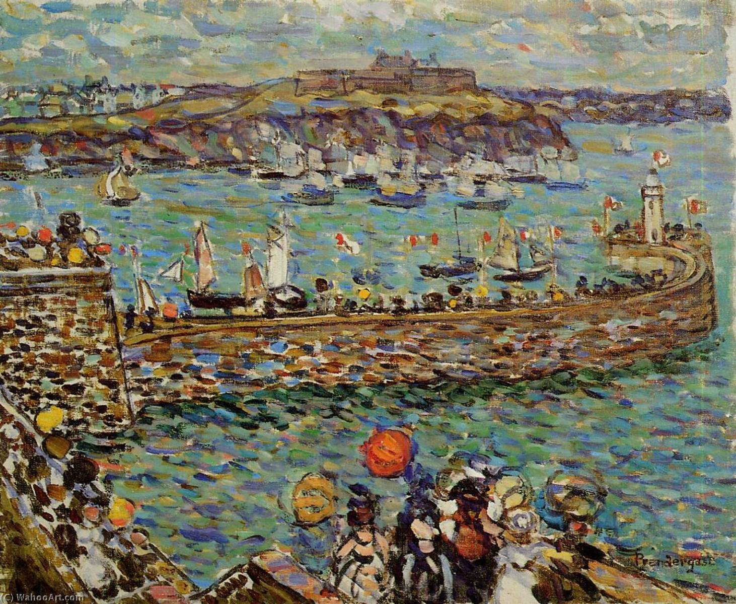 Lighthouse at St. Malo, 1907 by Maurice Brazil Prendergast (1858-1924, Canada) | Paintings Reproductions Maurice Brazil Prendergast | ArtsDot.com