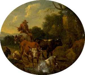 Nicolaes Berchem - Landscape with Cattle
