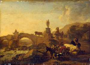 Nicolaes Berchem - Italian Landscape with a ..