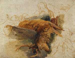Edwin Henry Landseer - A Dead Stag, with sketche..