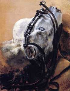 Adolph Menzel - Head of Horse Wearing Bridle, Lying Down