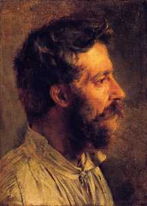 Adolph Menzel - Head of a Bearded Workman in Profile