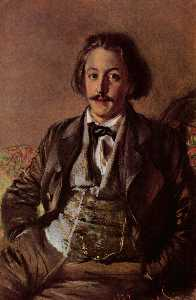 Adolph Menzel - Deutsch Porträt des Paul Heyse English Portrait of Paul Johann Ludwig von Heyse Русский Портрет Пауля Хейзе