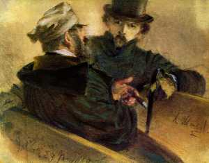 Adolph Menzel - Two discussing voters