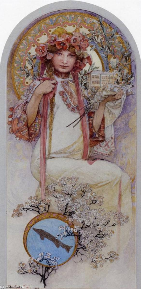 The Girl of Ivancice, 1903 by Alfons Maria Mucha (1860-1939, Czech Republic) | Museum Quality Reproductions | ArtsDot.com