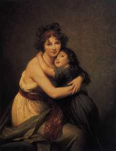 Elisabeth-Louise Vigée-Le.. - Self Portrait with Her Da..