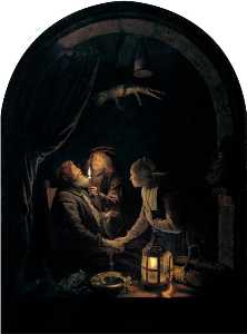 Gerrit (Gérard) Dou - English Dentist by Candlelight