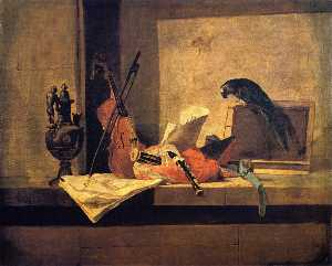 Jean-Baptiste Simeon Chardin - Musical Instruments and Parrot