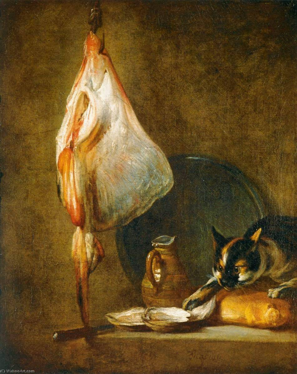 Still Life with Cat and Rayfish, 1728 by Jean-Baptiste Simeon Chardin (1699-1779, France) | Museum Art Reproductions | ArtsDot.com