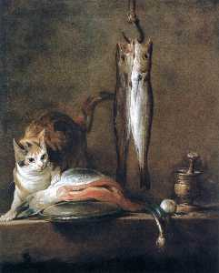 Jean-Baptiste Simeon Chardin - Still Life with Cat and Fish