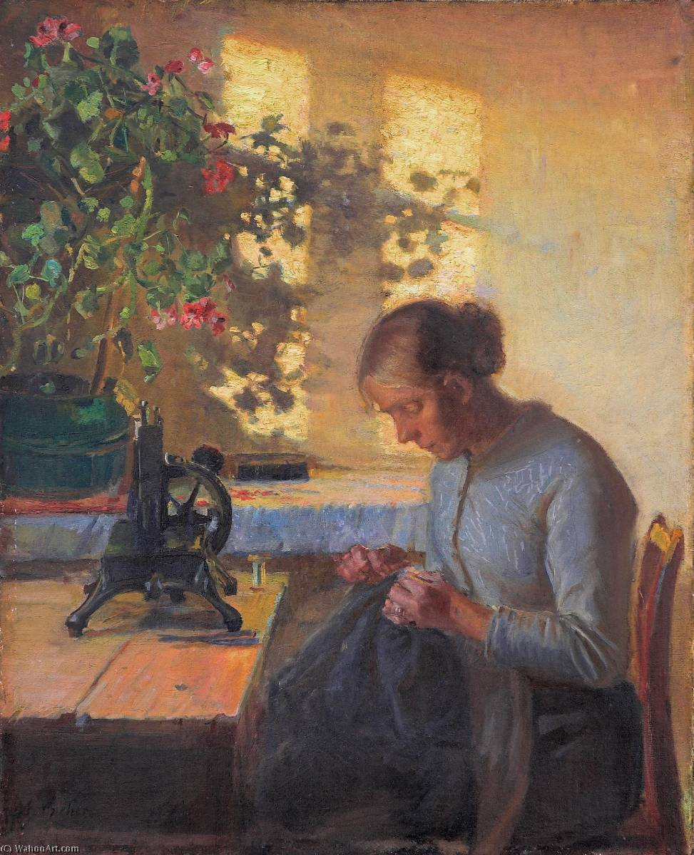 Syende fiskerpige English Sewing fisherman`s wife, 1890 by Anna Kirstine Ancher (1859-1935, Denmark) | Art Reproduction | ArtsDot.com