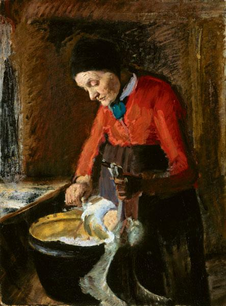 Gamle Lene plukker en Gås English Old Lene Plucking a Goose, 1890 by Anna Kirstine Ancher (1859-1935, Denmark) | Museum Art Reproductions | ArtsDot.com