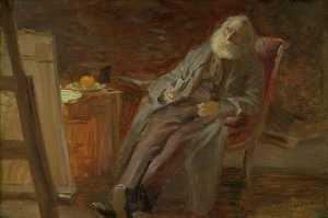 Anna Kirstine Ancher - The Painter Vilhelm Kyhn smoking his pipe