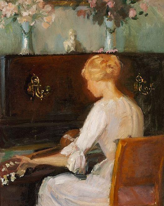 Order Art Reproduction : Ung pige spiller guitar siddende foran klaver English Young Woman Playing a Guitar Before a Piano by Anna Kirstine Ancher (1859-1935, Denmark) | ArtsDot.com
