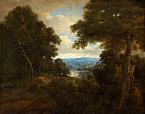 Jacques D- Arthois - An Extensive Wooded Landscape with Travellers on a Path