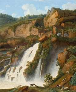 Jakob Philipp Hackert - View of the waterfall at Anitrella with goats grazing nearby