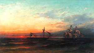 James Francis Danby - HM Sloop -Bonne Citoyenne- Taking the French Frigate -La Furieuse- in Tow