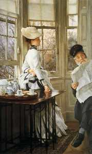 James Jacques Joseph Tissot - English Reading the News