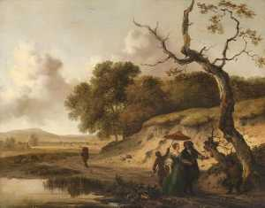 Jan Jansz Wijnants - Landscape in Dunes with a Married Couple