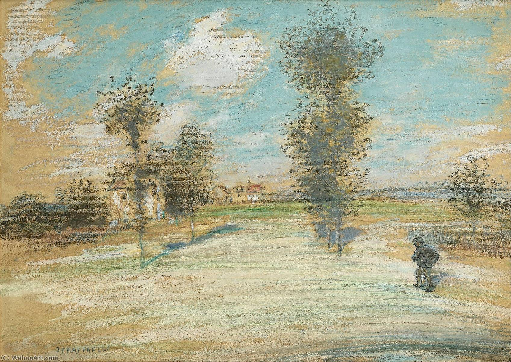Landscape with a Peasant on the Road by Jean-François Raffaelli (1850-1924, France) | Painting Copy | ArtsDot.com