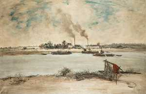 Jean-François Raffaelli - The Banks of the Seine Near Paris