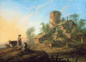 Jean Baptiste Pillement - Pastoral Landscape with Shepherds