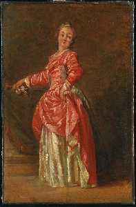 Jean Baptiste Le Prince - A lady, wearing a red dre..