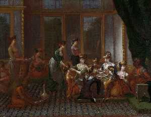 Jean Baptiste Vanmour - Meal of a Turkish Noblewo..