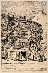 Jerome Myers - Old House on 29th St. East of 3rd Ave. N.Y