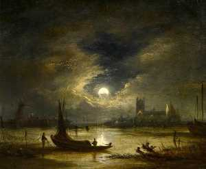 John Crome - Moonlight Norwich, Norfolk