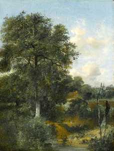 John Crome - Wooded Landscape with an Oak