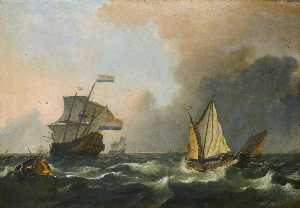 Ludolf Backhuysen - Shipping in rough waters off the Dutch coast