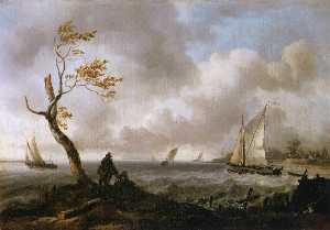 Ludolf Backhuysen - Fishing Boats and Coasting Vessel in Rough Weather