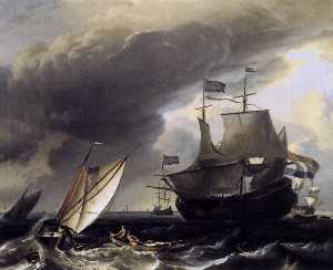 Ludolf Backhuysen - Dutch Vessels on the Sea ..
